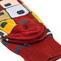 Burgundy 70'S Squares Organic Cotton Socks image