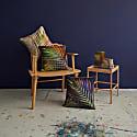 Navy Palm Leaf Linen Cushion image