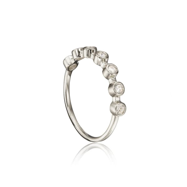Lily & Roo Sterling Silver Round Diamond Style Eternity Ring