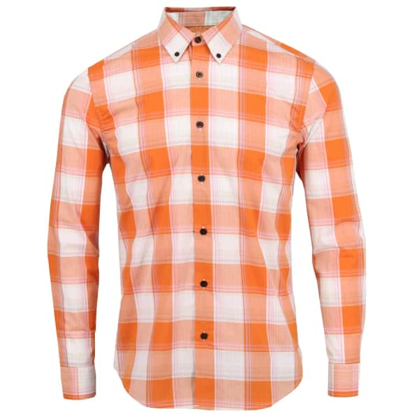 LORDS OF HARLECH Morris Shirt In Copper Large Gingham