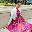 Kalighat Horse Classic Silk Scarf Collection - Pink image