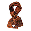 Luxurious Knitted Cotton Scarf With Graphical Pattern In Classical Colours Elements - Rust image