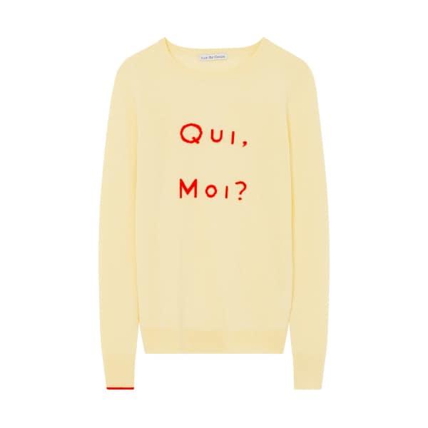 ILLE DE COCOS Qui Moi Merino Sweater Lemon & Red