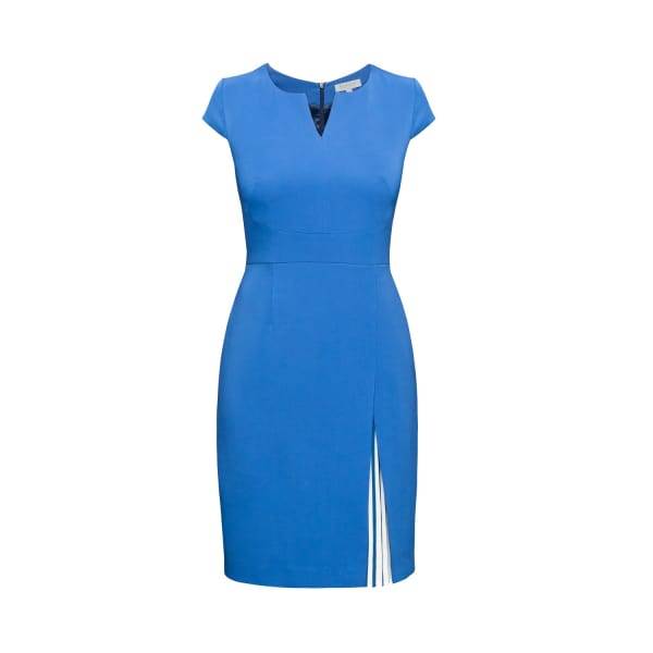 Mariana Blue Stretch-Crepe Dress With Capped Shoulder & Pleated Deatail