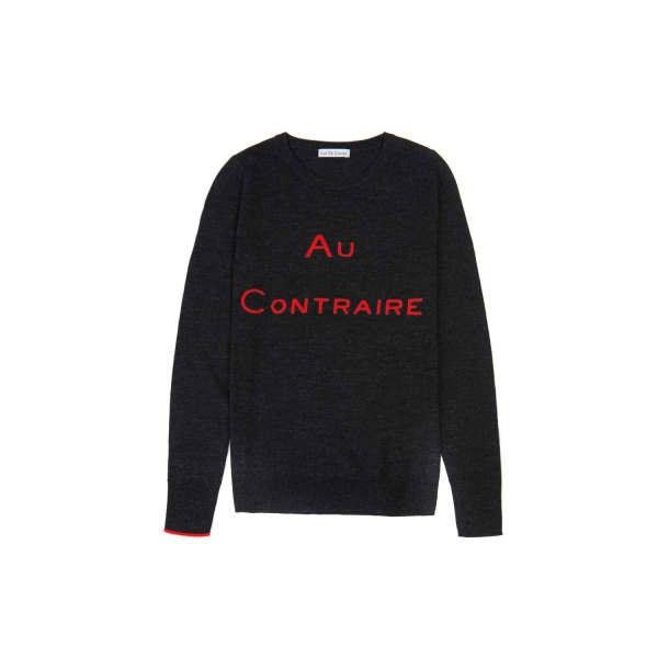ILLE DE COCOS Au Contraire Merino Sweater Dark Grey & Red