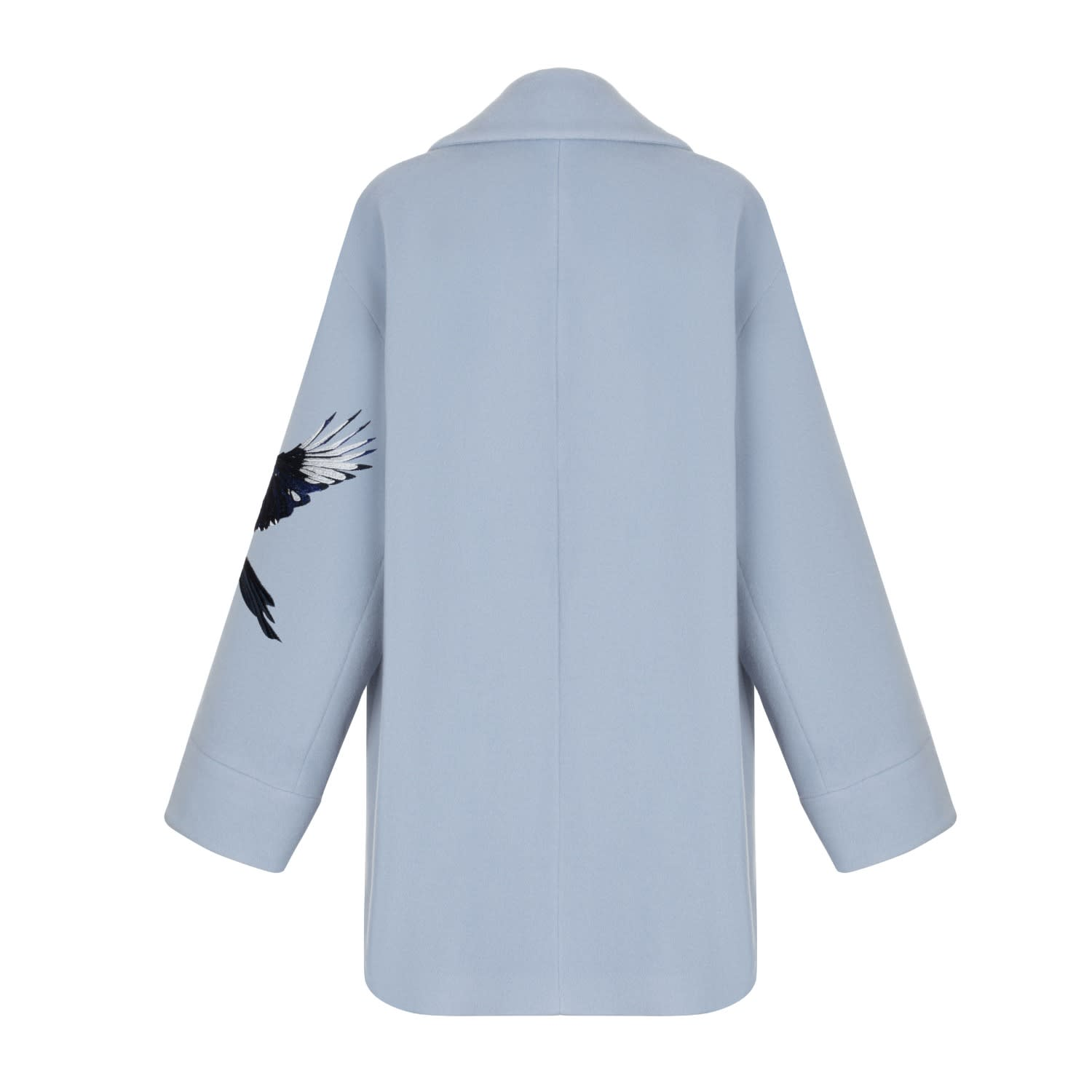 Light Blue Wool Coat With Print | KORSUN | Wolf & Badger