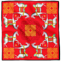 Kalighat Horse Classic Silk Scarf Collection Red & Yellow Large image