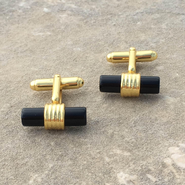 Latelita London Cylindrical Cufflink Gold Black Onyx laAoJu0