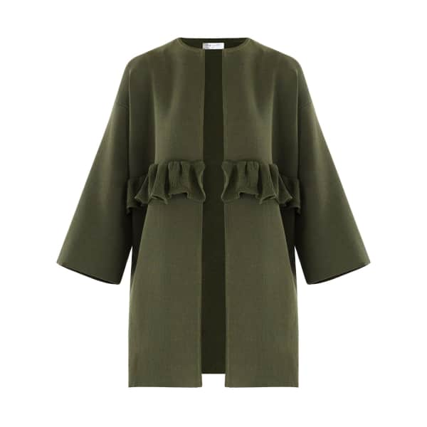 PAISIE Open Knit Cardigan with Ruffle Detail in Green