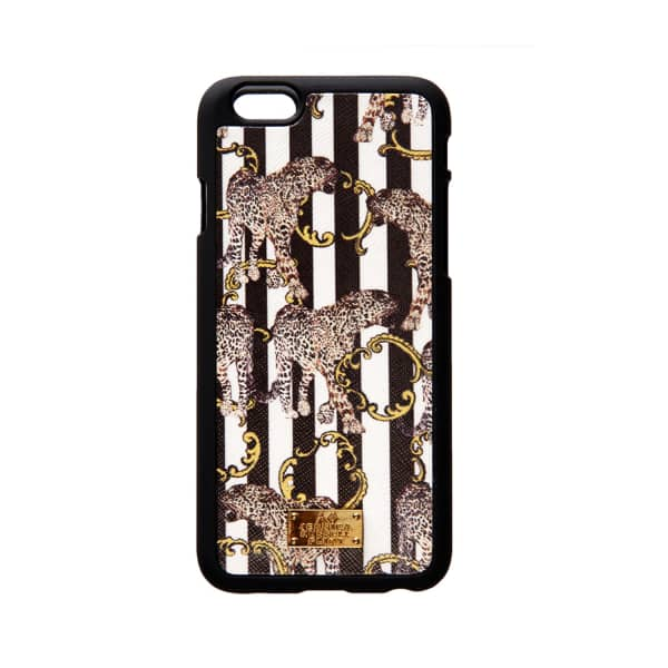 Iphone 6 Case Leather Coated Striped Leopard