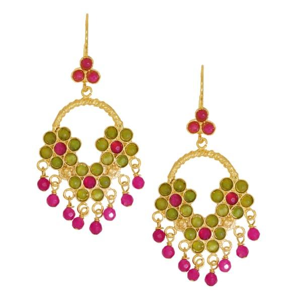 OTTOMAN HANDS Lime & Hot Pink Agate Flower Chandelier Earrings