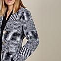 Myla Check Coat In Navy & Soft White Check image