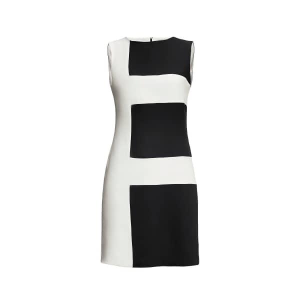 Marie Striped Silk Dress Black