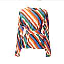 Bugyi Stripes Print Overlap Pleat Top image