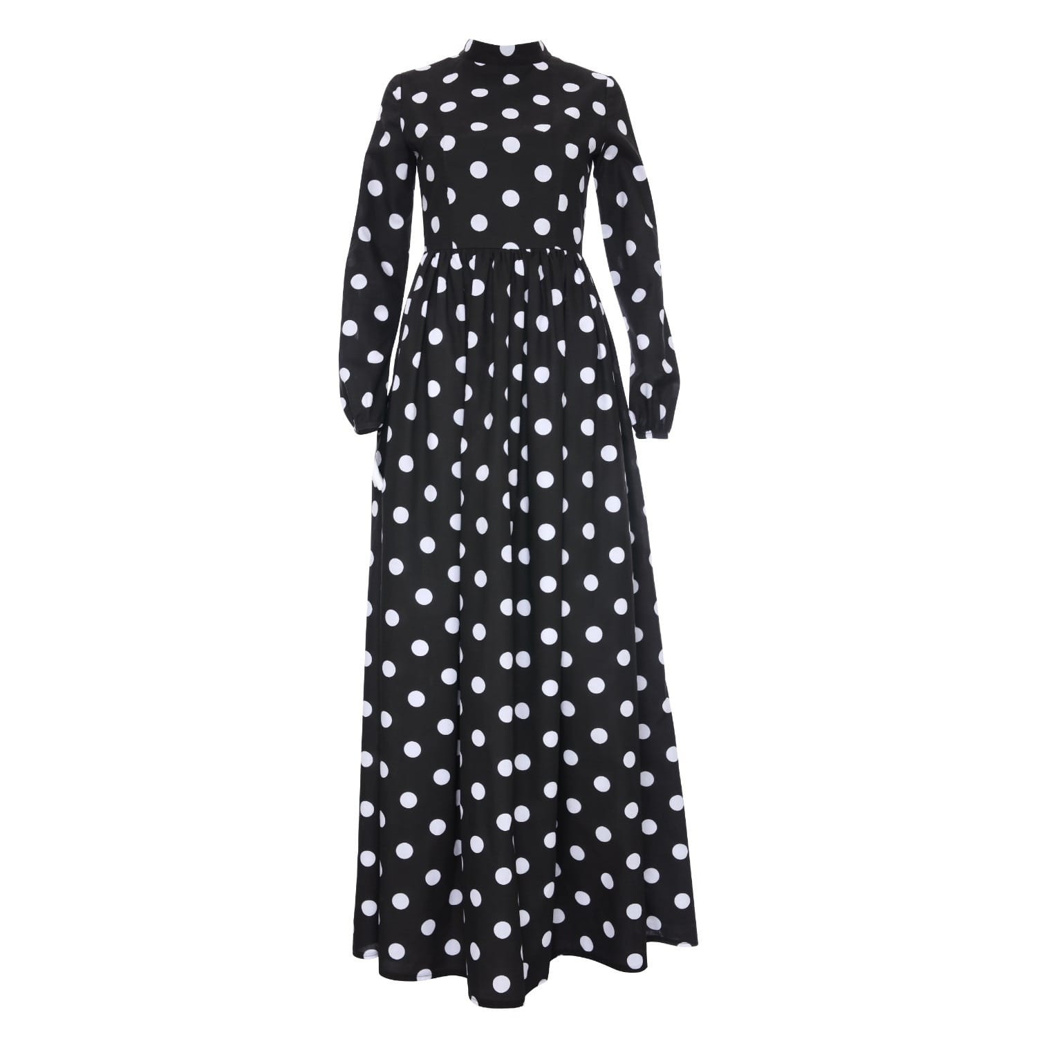 d508bc058bc Monique Black Polka Dot Maxi High Collar Dress With Long Sleeves ...
