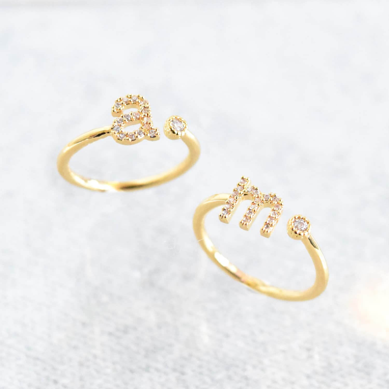 Very Gold Initial M Ring | Astrid & Miyu | Wolf & Badger XW35