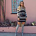 Multicolor Handmade Knit Sweater-Dress With Glitter image