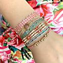 Multicolor Intermixed Semi Precious Stones Handwoven Bracelet image