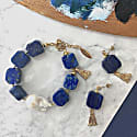 Nugget Baroque Freshwater Pearls & Square Lapis Lazuli Bracelet image