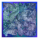 'Sleeping Dogs' Large Silk Cotton Scarf In Blue Hues image