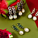 Baroque Pearl Link Chain Drop Earring Green Cz image