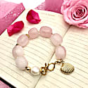 Rose Quartz With Freshwater Pearls & Shell Charm Bracelet image