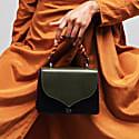 Celina Black & Kale Green Top Handle Handbag With Interchangeable Oxblood & Orange Braided Handle image