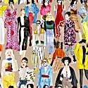 Watercolor Fashion Illustration Print Face Mask & Scrunchie Set image