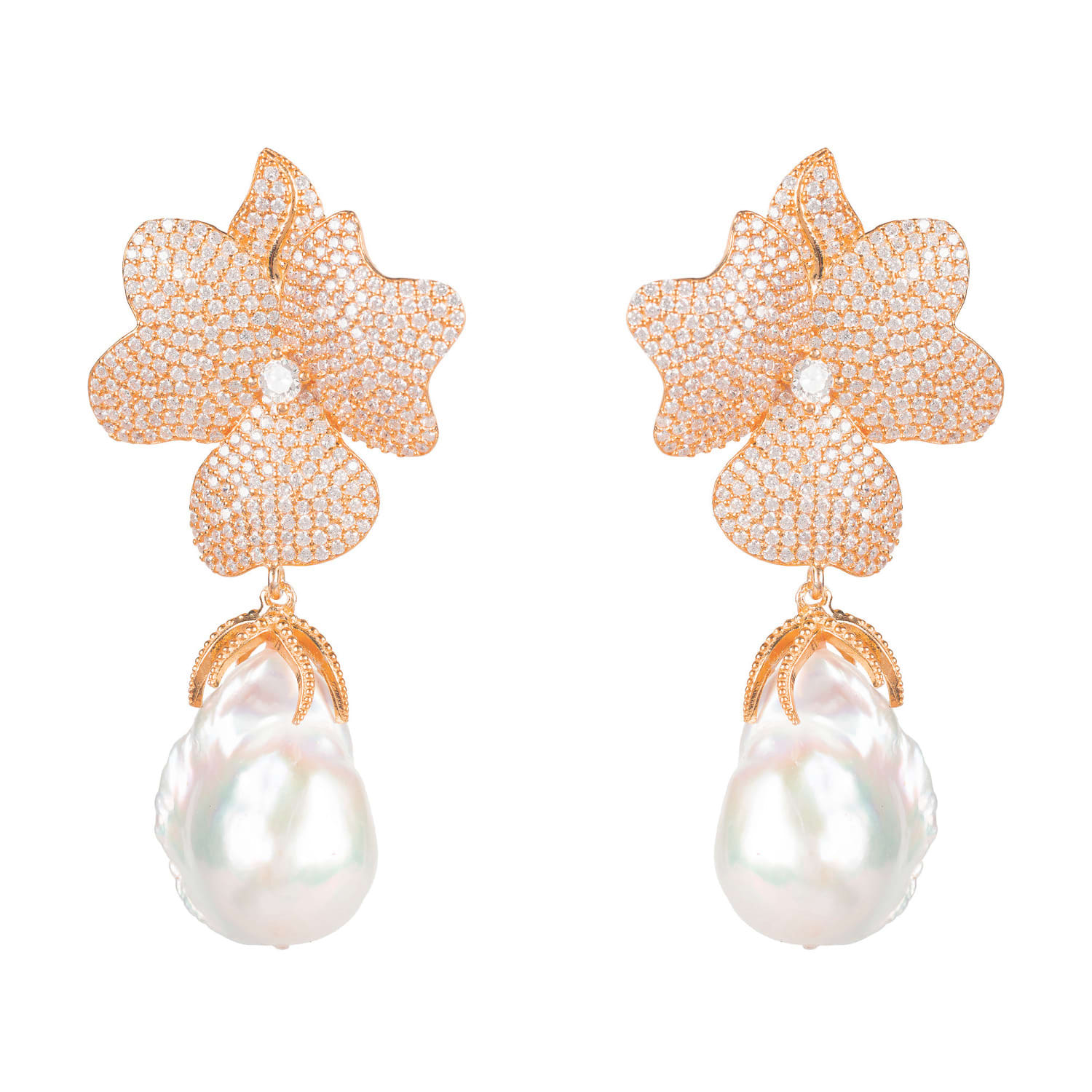 Floral Earring Whit Pearl