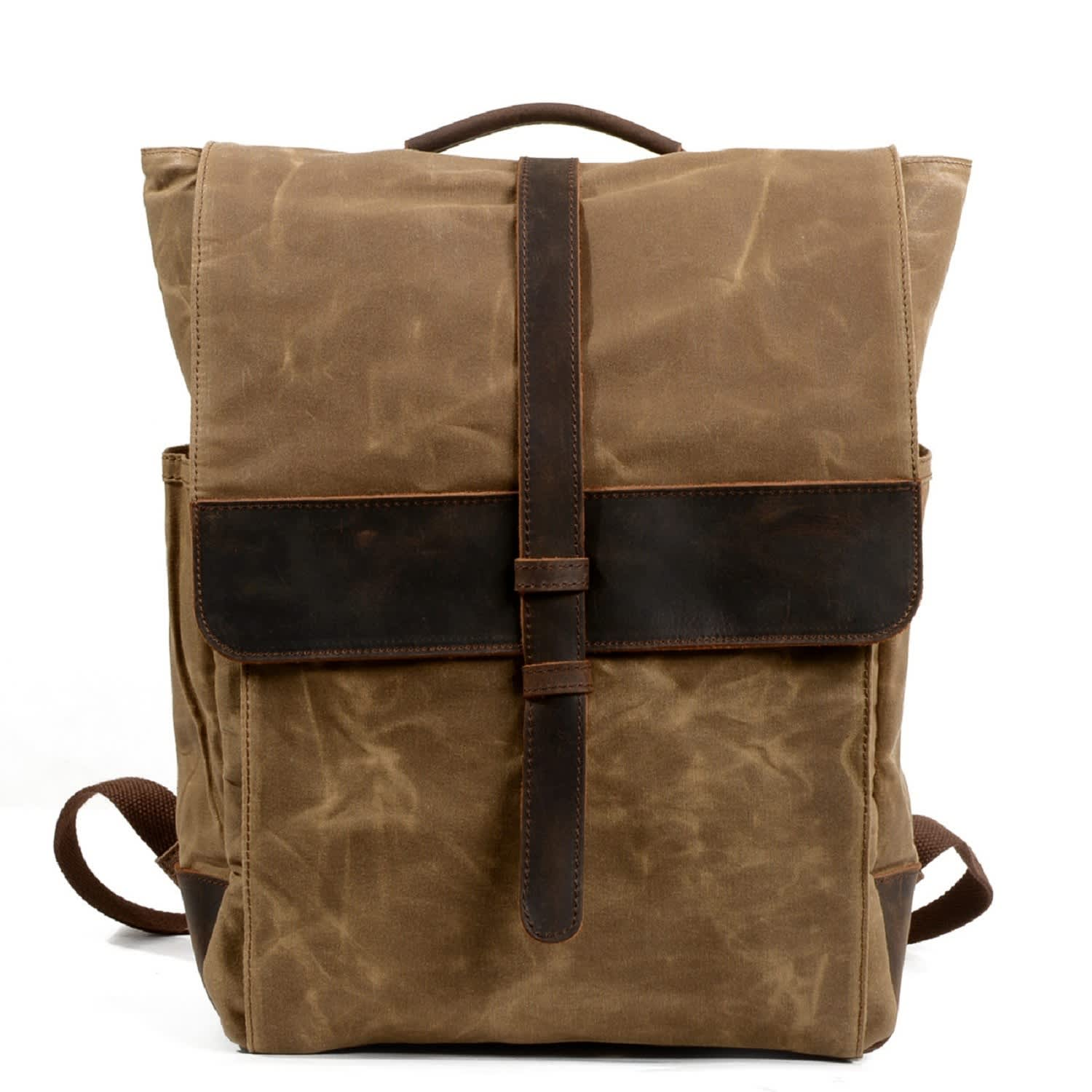 7633e7072 Front Leather Strap Waxed Canvas Backpack In Khaki | EAZO | Wolf ...