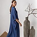 Blue Viscose Midi Kaftan Dress Farida image