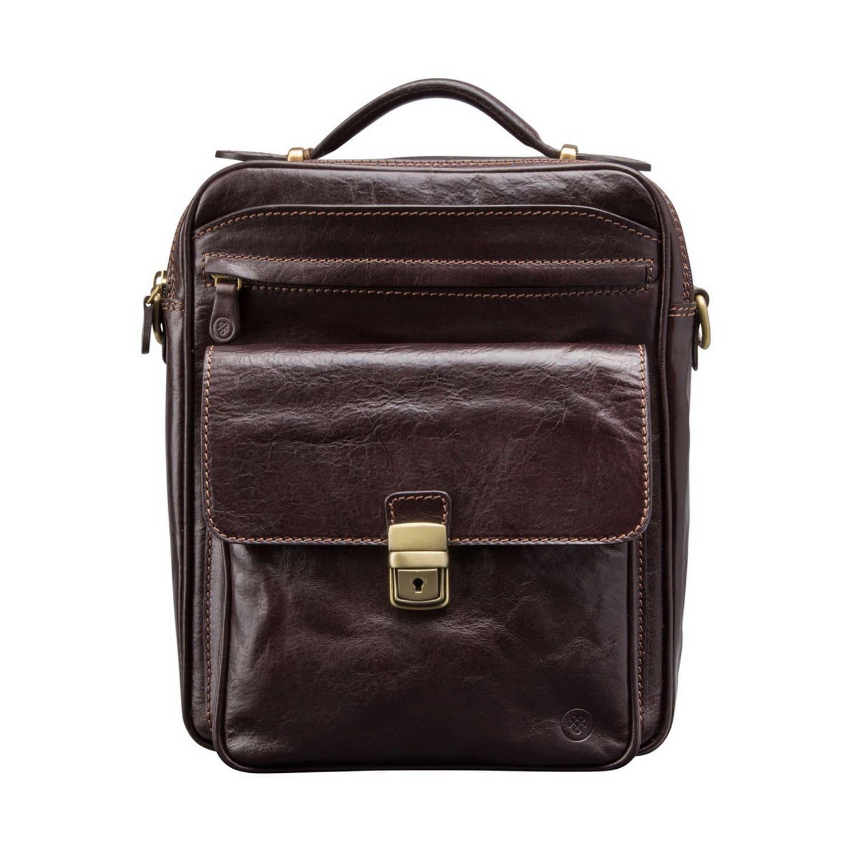 4cb9843ccf Luxury Italian Leather Men s Large Shoulder Bag Santino L Chocolate Brown