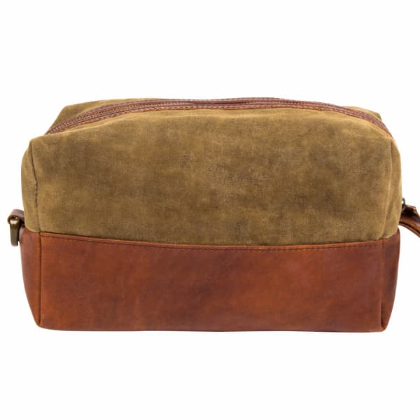 MAHI LEATHER Canvas & Leather Classic Wash Bag Dopp Kit in Forest Green and Brown