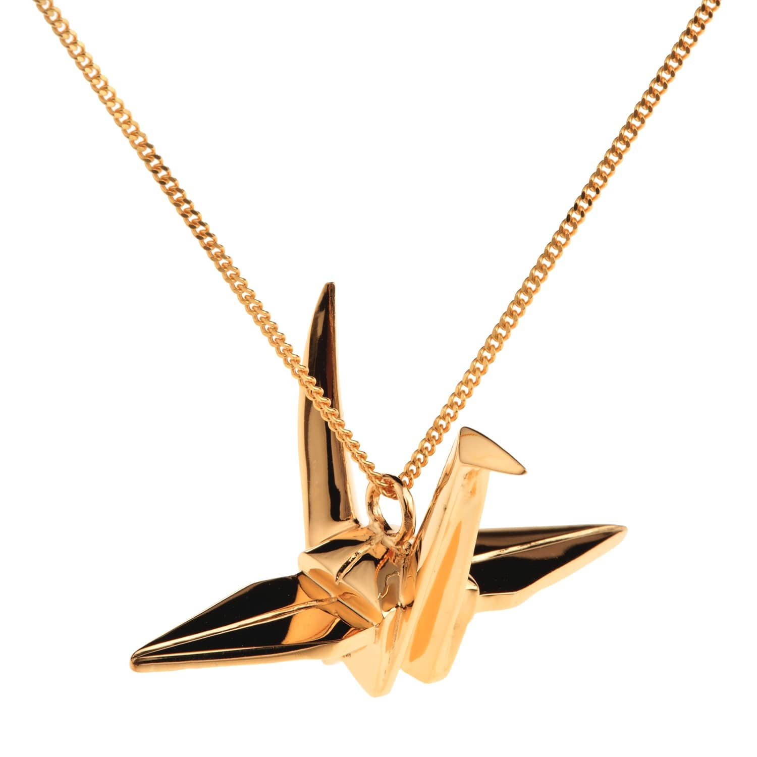 a2c7d53534a82 Crane Necklace Gold by Origami Jewellery