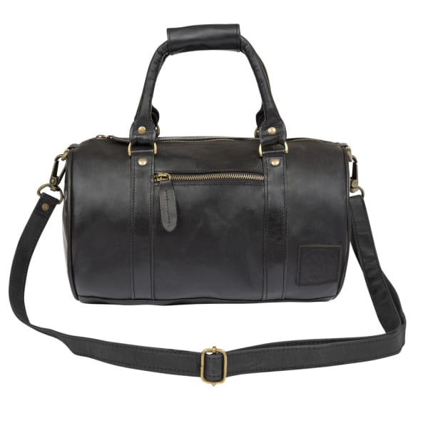 MAHI LEATHER Mini Duffle Handbag in Black Leather