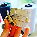 Bow & Cube Silver Grey Bracelet Gold image