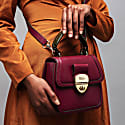 Grace Oxblood Red Top Handle Handbag With Interchangeable Orange Braided Handle image
