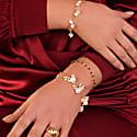 Venus White Pearl Dangle Gold Chain Bracelet image