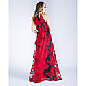 Marcella Red Embroidered Halter Lace Gown image