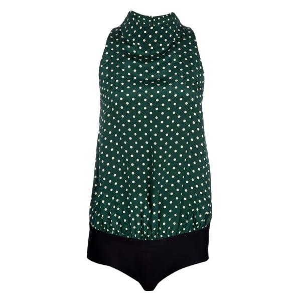 Ukulele Emerald Silk Polka Halterneck Top Bodysuit