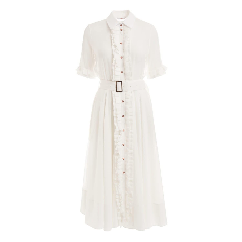 4c69d4c8a43 Elle White Cotton Ruffle Midi Shirt Dress image