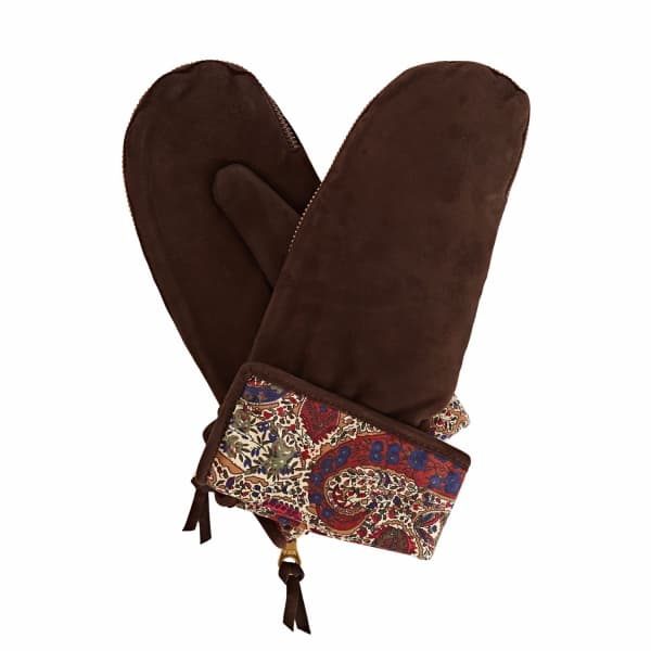 Psyche Dark Brown Nubuk Suede Gloves With Bm Liberty Tana Lawn