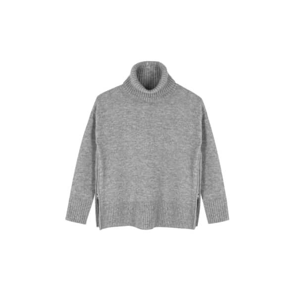 ILLE DE COCOS Side Zip Roll Neck Sweater Silver Grey Marl
