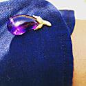 Handcarved Amethyst & Gold Aubergine Cufflinks image
