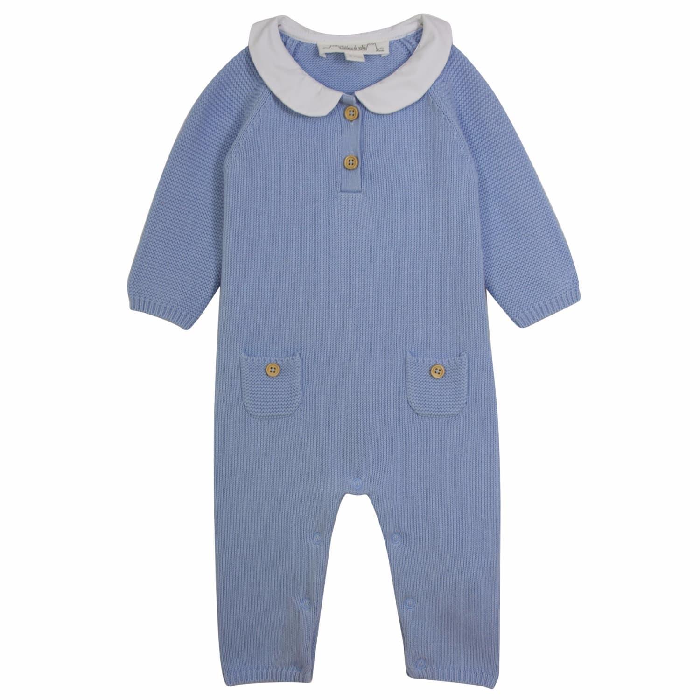 b5759deefd3 French Designer Baby Boy Peter Pan Collar Romper image
