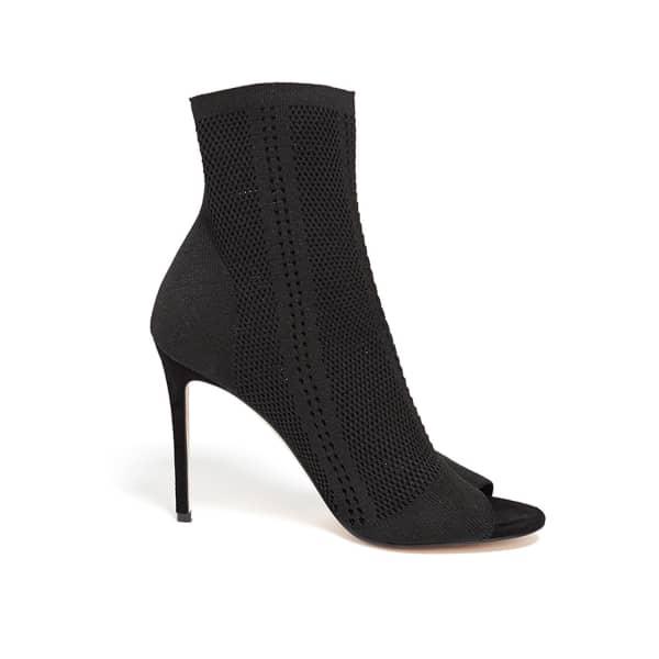 WTR  Germanie Black Peep Toe Ankle Sock Boots