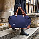 Classic Travel Bag In Navy Canvas & Brown Leather image