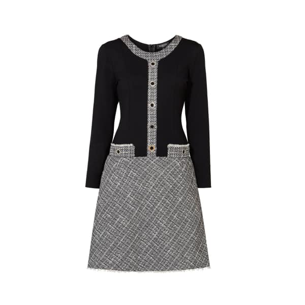 Beatrice Monochrome Tweed Dress