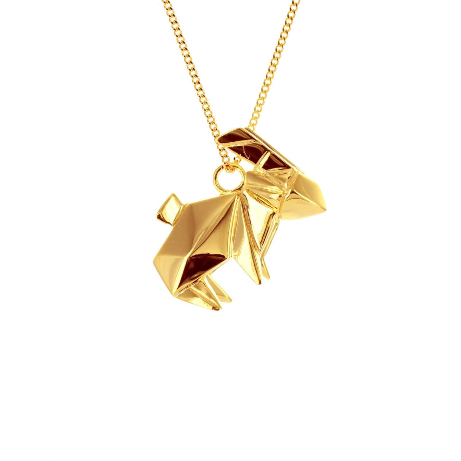 Origami Jewellery Sterling Silver & Pink Gold Mini Rabbit Origami Necklace mZ6aFo