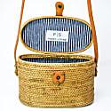 Luna Rattan Bag - Nantucket Navy Stripe image